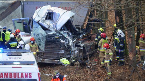 wypadek, wypadek ciężarówki, zmiażdżona kabina, uwalnianie kierowcy, poważnyw wypadek ciężarówki, kk, wypadek KK, tir w drzewo, lpr, wypadek lpr, ratowanie kierowcy, zgnieciona kabina, zgnieciona ciężarówka, wiadomości opolskie,
