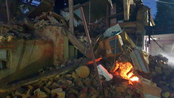 wybuch, wybuch butli , wybuch butli z gazem, wybuch w domu, wybuchła butla z gazem, wybuch gazu, zniszczony dom, brzeg, łukowice brzeskie, straż, informacje opolskie,