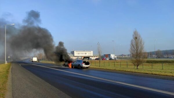 gogolin, pożar samochodu, pożar samochodu w gogolinie, pożar auta w gogolinie, pożar pasata, pożar passata, spalony samochód osobowy,