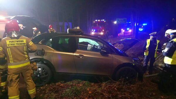 wypadek samochodu elektrycznego, wypadek w kąprachcicach, wypadek w opolskim, samochód elektryczny uległ wypadkowi,