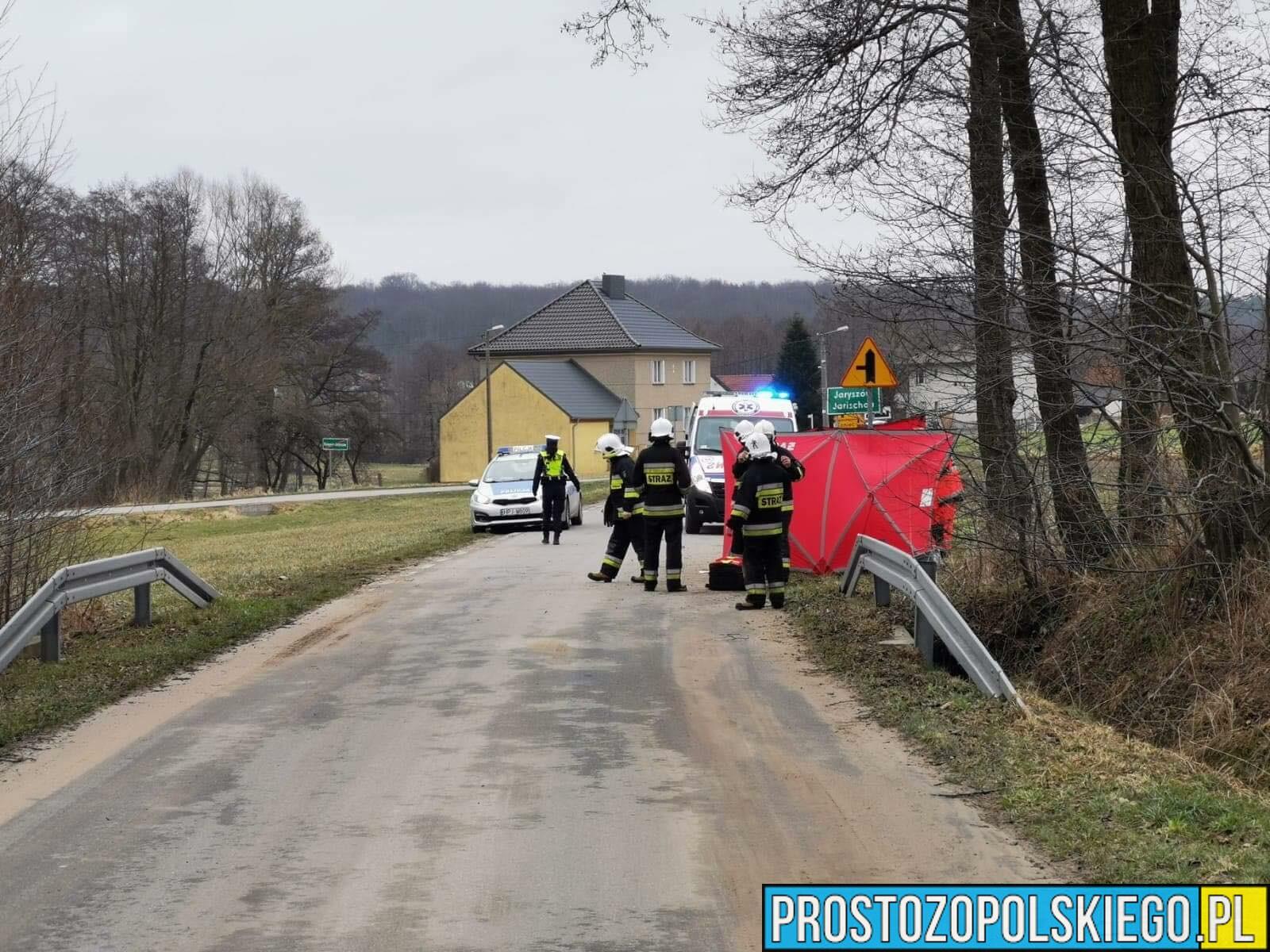 Śmierć 75-latka. Uderzył motorowerem w bariery ochronne.(Zdjęcia)