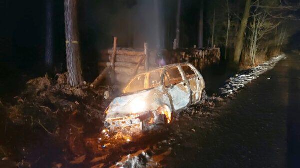 Pożar samochodu w lesie w Starych Budkowicach. Kierowca 3 promile alkoholu w organizmie.(Zdjęcia)