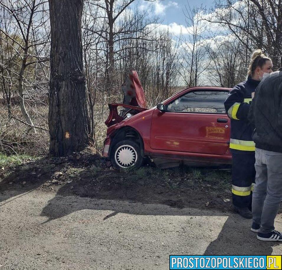 20-latka wjechał fiatem w drzewo. Z obrażeniami została zabrana do szpitala w Namysłowie.(Zdjęcia)