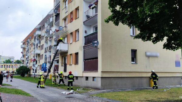 Pożar mieszkania w Ozimku. Strażacy wchodzili po drabinie do mieszkania. Na miejscu było 6 jednostek straży pożarnej.(Zdjęcia&Wideo)