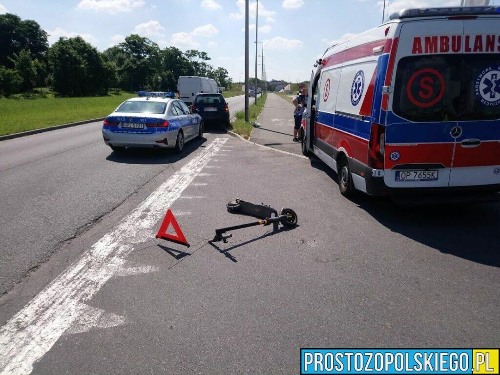 Kierujący fordem nie zatrzymał się przed znakiem stop i potrącił mężczyznę jadącego hulajnogą.