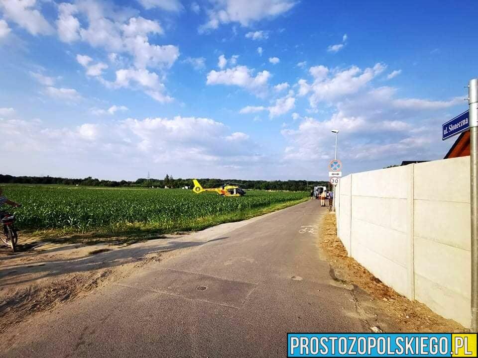 Wypadek na strażackim quadzie.14-letnią dziewczynę LPR zabrał do szpitala w Opolu.