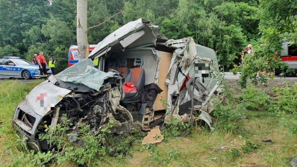 Kierujący został zakleszczony po tym, jak uderzył busem w drzewo.