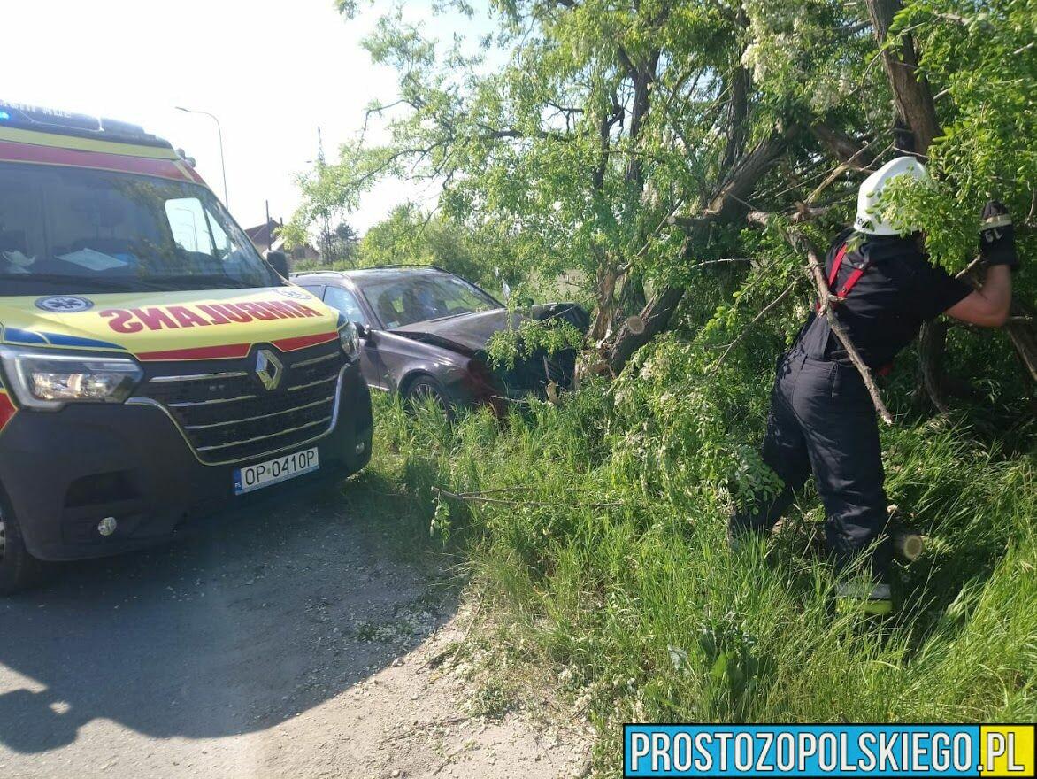 Kierujący mercedesem wjechał w drzewo na ul. Leonida Teligi w Opolu.
