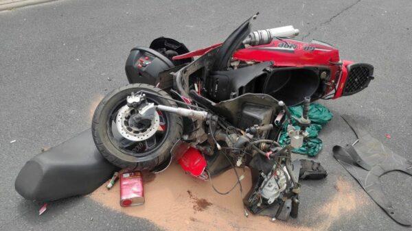 Zderzenie motocyklisty z audi w Popielowie.(Zdjęcia)
