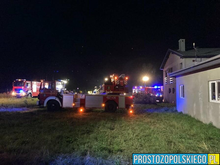 Pożar tartaku w Grodzisku. W akcji bierze udział 14 zastępów straży.(Zdjęcia)