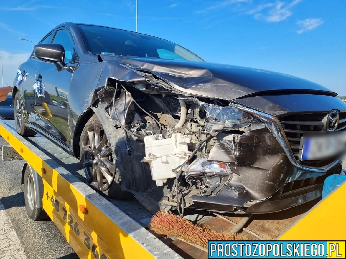 Zderzenie dwóch aut w Dąbrówce Górnej.(Zdjęcia)