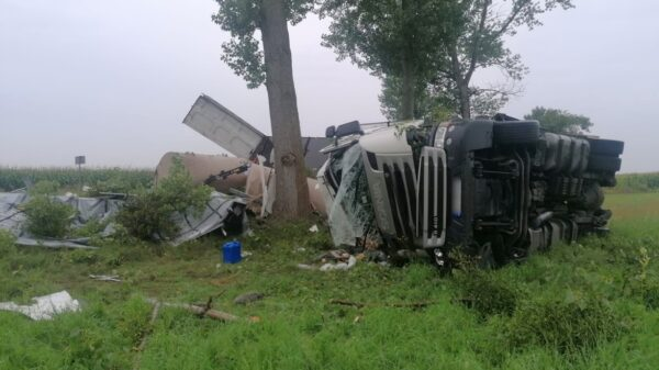Wypadek ciężarówki na dk39 w miejscowości Łukowice Brzeskie. Ranny został kierowca i jego 7-letnia córka.(Zdjęcia)