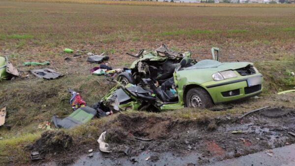 Wypadek śmiertelny na DW423 Opole-Krapkowice w miejscowości Przywory.(Wideo)