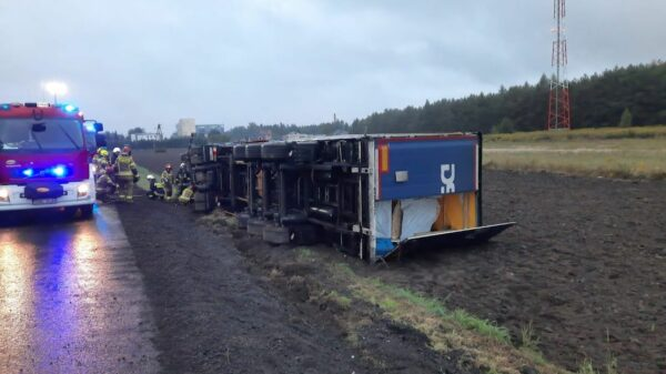 Na DK43 w powiecie Oleskim przewróciła się ciężarówka z drewnem.(Zdjęcia)