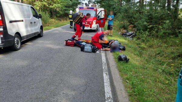 Wypadek motocyklisty w Szydłowie.Na miejscu lądował LPR (Zdjęcia)