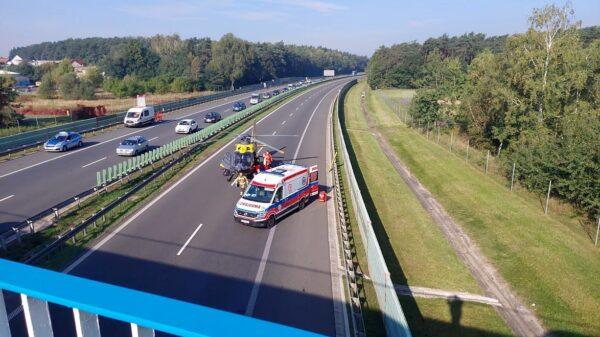 Kobieta skoczyła z wiaduktu na autostradzie A4.Z obrażeniami ciała LPR