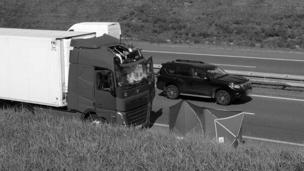 Mężczyzna skoczył z wiaduktu na autostradzie A4 i wpadł do kabiny ciężarówki.(Zdjęcia)