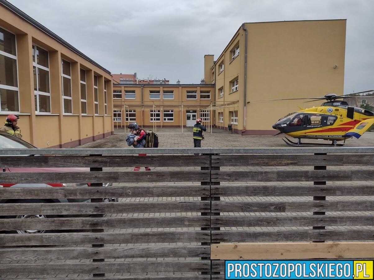 Małe dziecko oblało sią kawą i doznało rozległych poparzeń. W Brzegu lądował LPR Ratownik23.(Zdjęcia & Wideo)