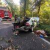 Zderzenie ciężarówki z osobówką na DK45 w Ciężkowicach.