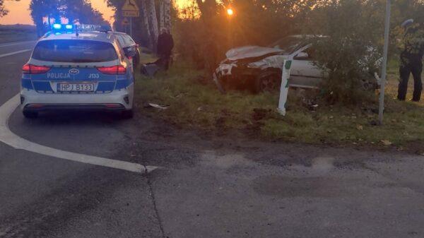 Wypadek na dk39 na wysokości Małujowic. Jedna osoba została poszkodowana.
